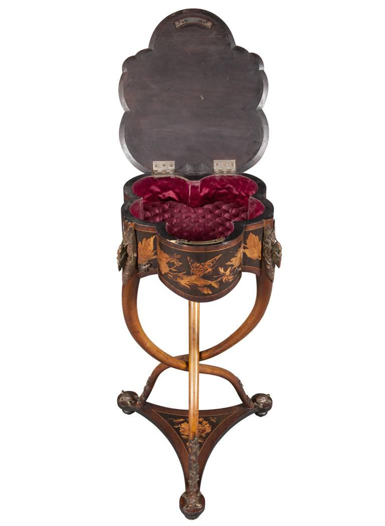Rare French Art Nouveau Marquetry Table by Charles Guillaume Diehl, circa 1878 For Sale 4