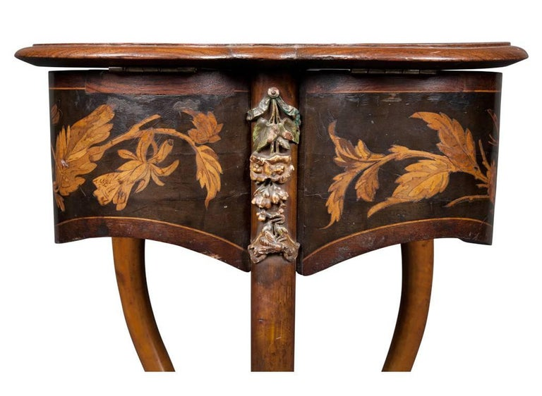 Rare French Art Nouveau Marquetry Table by Charles Guillaume Diehl, circa 1878 For Sale 1