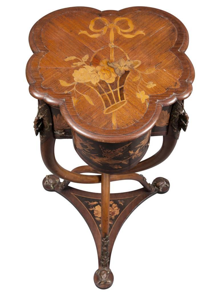 Rare French Art Nouveau Marquetry Table by Charles Guillaume Diehl, circa 1878 For Sale 5