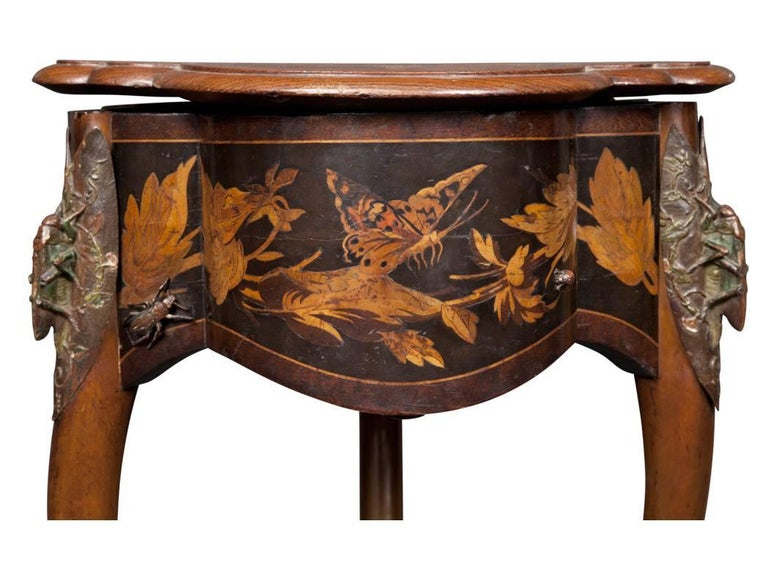 Copper Rare French Art Nouveau Marquetry Table by Charles Guillaume Diehl, circa 1878 For Sale
