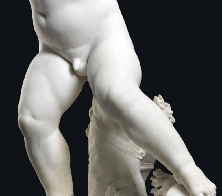 """Charles Adrien Prosper D'epinay, French """"Implacable Putto"""" Marble Figure In Excellent Condition For Sale In New York, NY"""