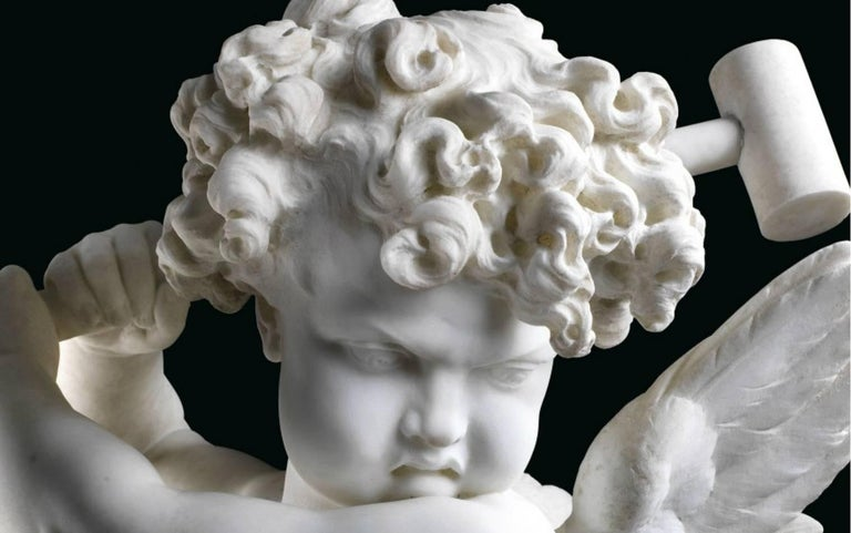 """Charles Adrien Prosper D'epinay, French """"Implacable Putto"""" Marble Figure For Sale 1"""