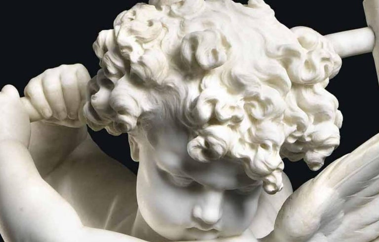 """Napoleon III Charles Adrien Prosper D'epinay, French """"Implacable Putto"""" Marble Figure For Sale"""
