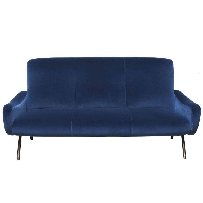 "1950s Marco Zanuso ""Lady"" Series Blue Sofa"