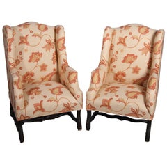 Pair of Louis XIII Style Wing Chairs with New Upholstery