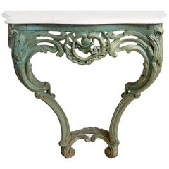 Green Carved Wall Mount Console