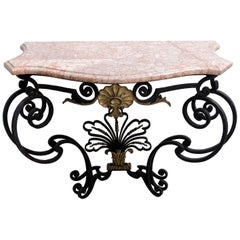 Gilt Natural Wrought Iron Console with a Marble Top