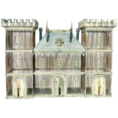 Very Large Zinc Birdcage in the Form of a Castle or Chateau