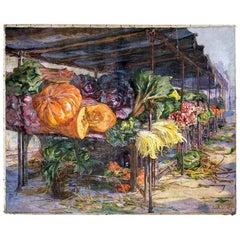 Still Life Painting of Paris Vegetable Market, Artist Camille Olivier