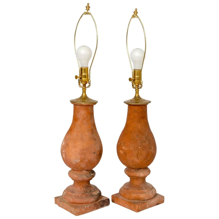 Pair of Hand Molded Red Terra Cotta Table Lamps with New Us Approved Wiring