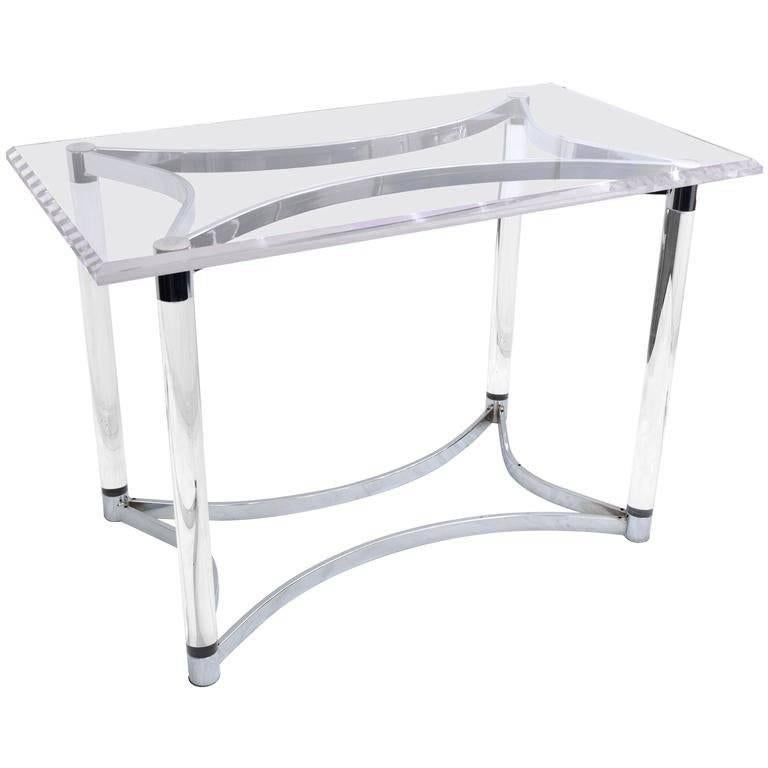 Lucite and Steel Console Table or Table Base For Sale 4