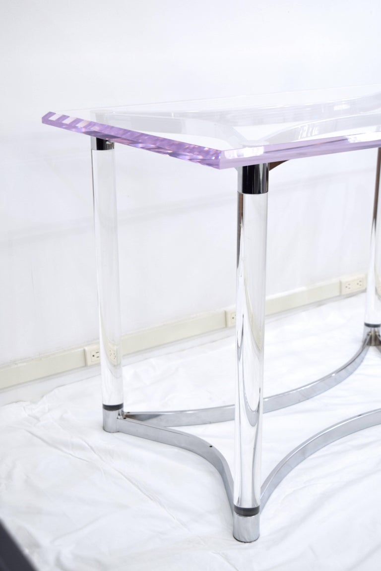 Lucite and Steel Console Table or Table Base For Sale 2