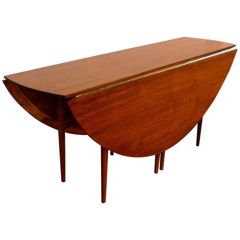 Midcentury Drop-Leaf Gate Leg Oval Table