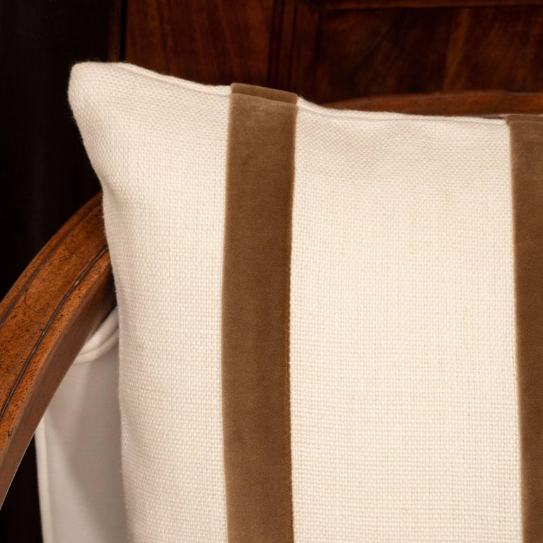 American White Linen Pillow with Brown Velvet Stripe For Sale