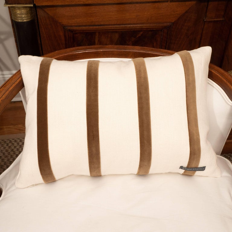 White Linen Pillow with Brown Velvet Stripe For Sale 2