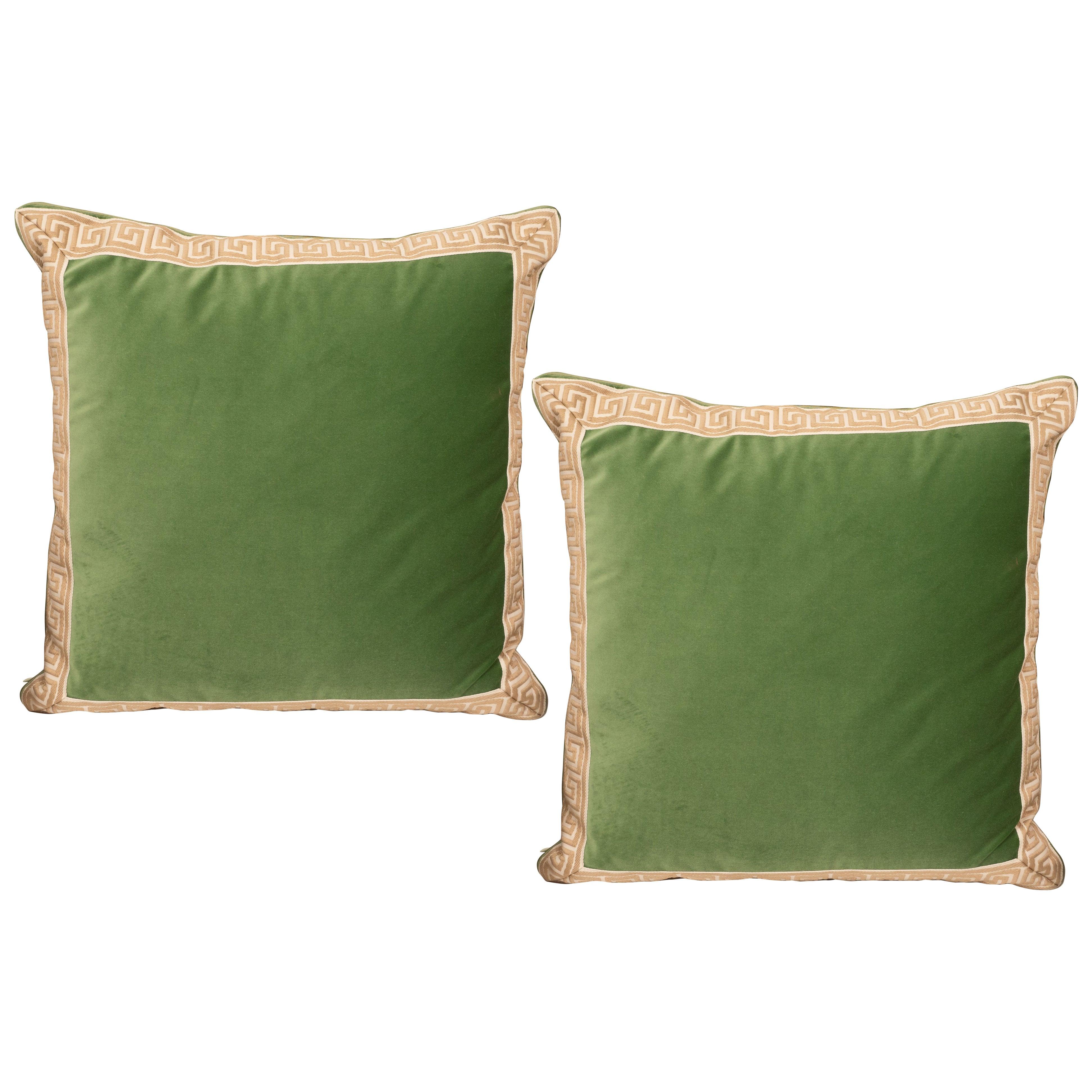 Pair of Green Velvet Pillows with Greek Key