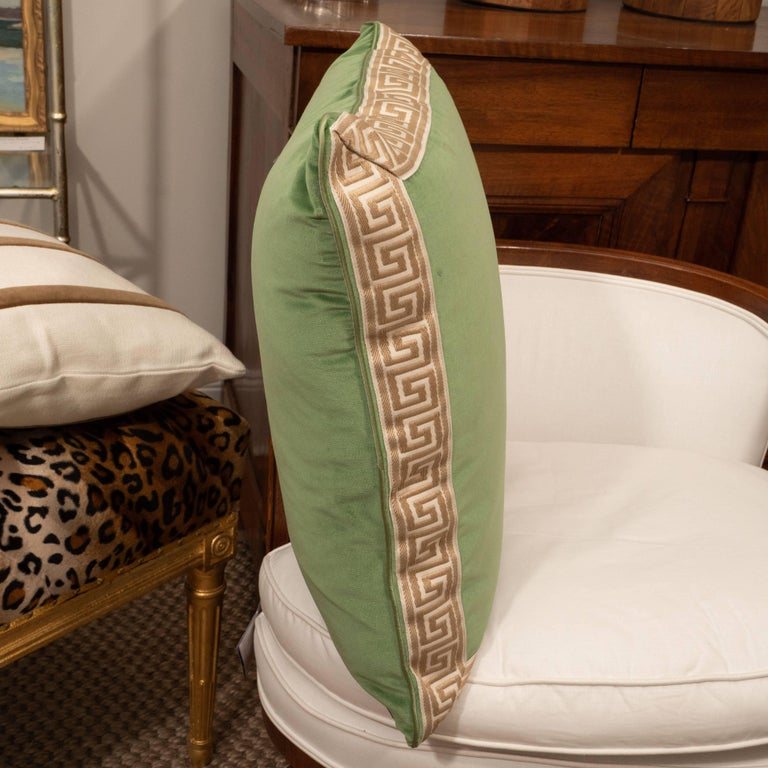 Contemporary Pair of Green Velvet Pillows with Greek Key For Sale