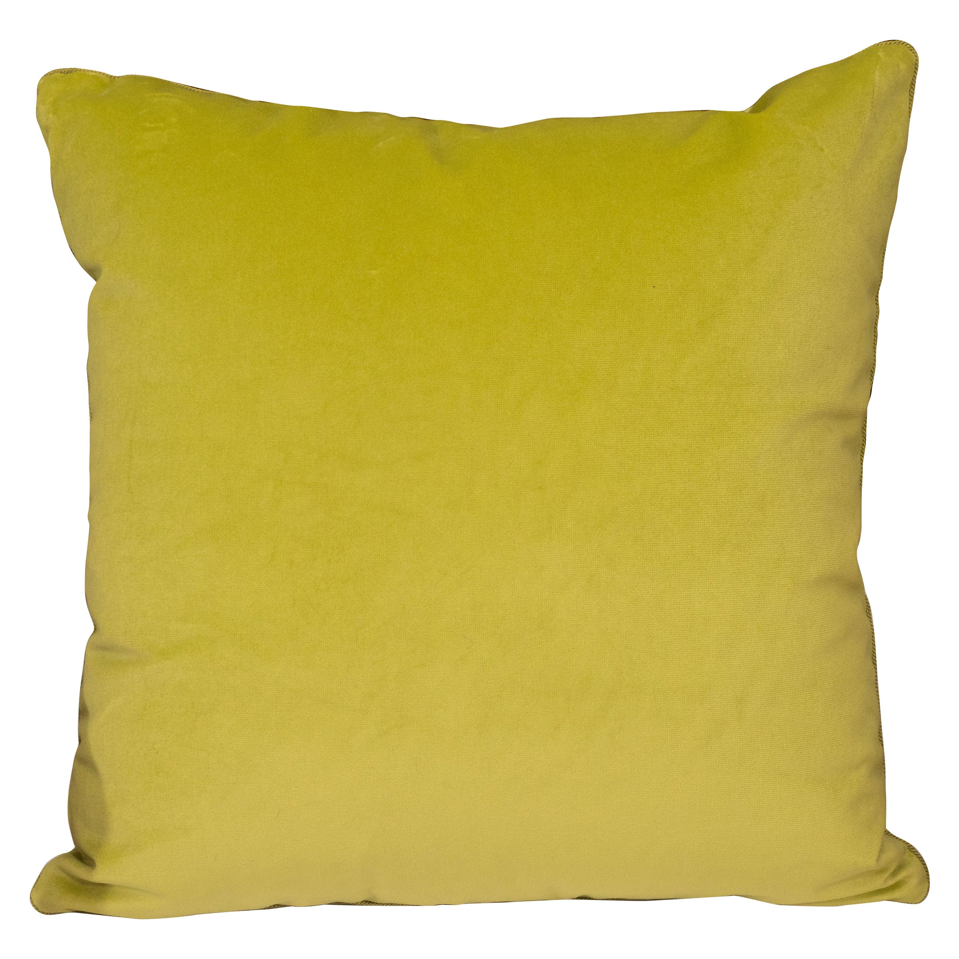 Pair of Acid Green Velvet Pillows