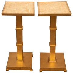 Marble Gold Leaf Accent Tables