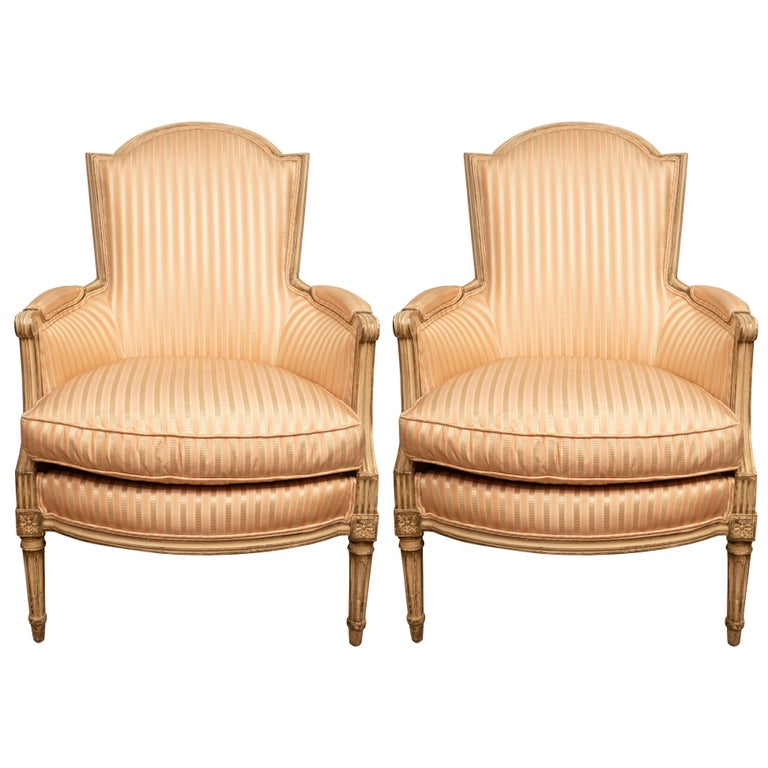 Pair of Louis XVI Style Painted Bergères