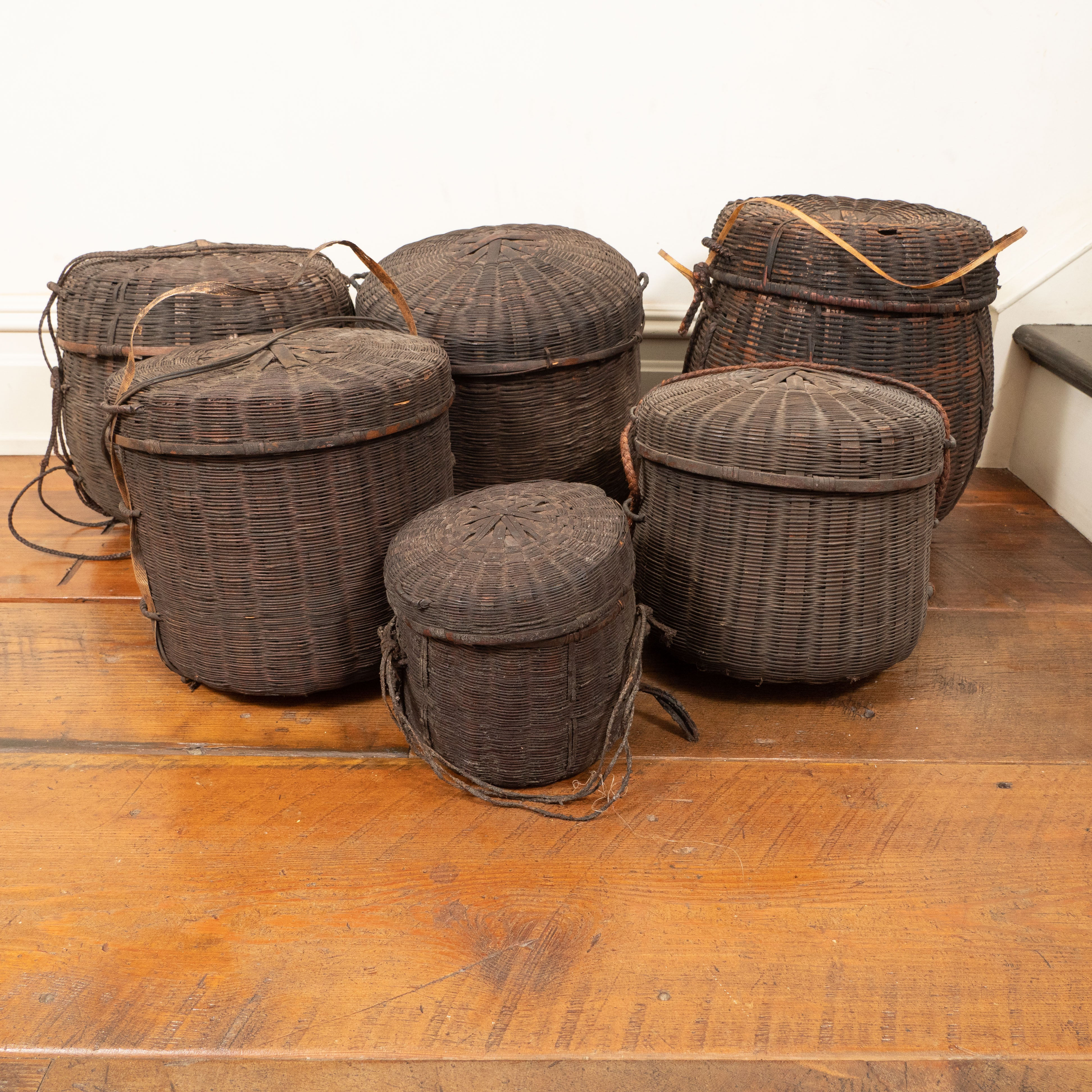 Set Of Six 19th Century African Woven Baskets With Lids Mali For At 1stdibs