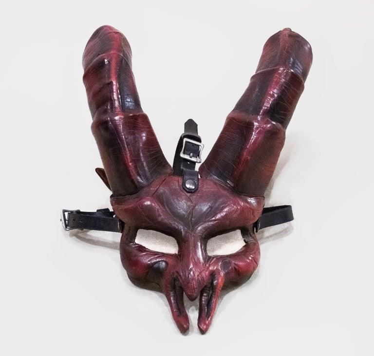 Black Dark Horned Leather Mask For Sale