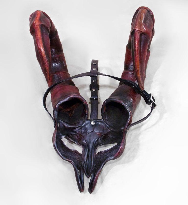 Dark Horned Leather Mask For Sale 2