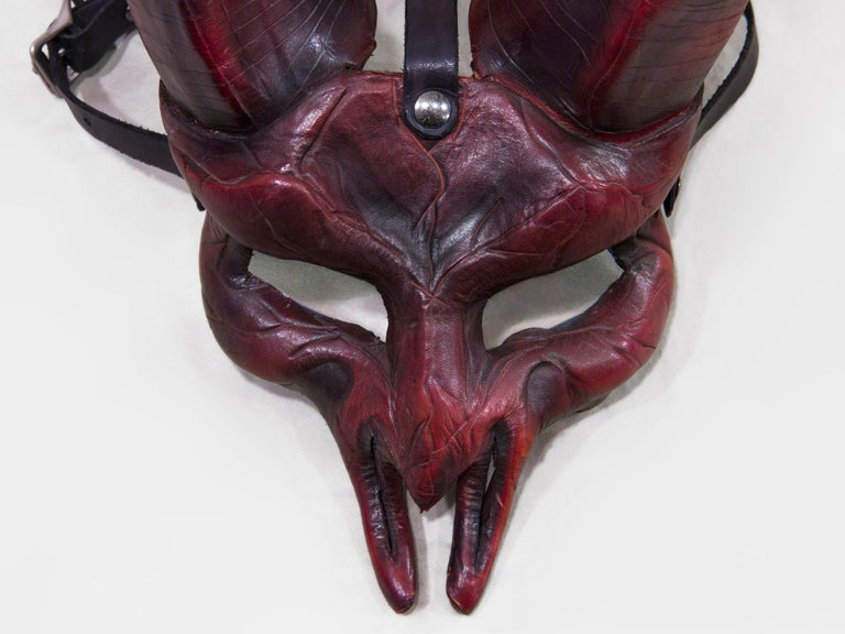 Dark Horned Leather Mask For Sale 3