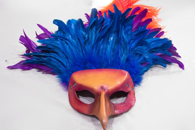 Red Feathered Leather Carnivale Mask For Sale