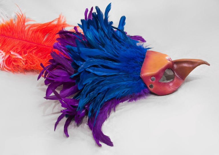 Feathered Leather Carnivale Mask For Sale 1