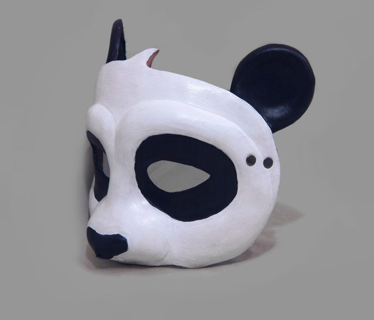 Gray Leather Panda Mask For Sale