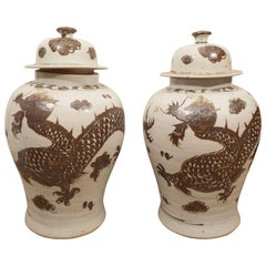 Pair of Brown Jars with Lids