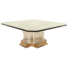 Glass Table with Lucite Base