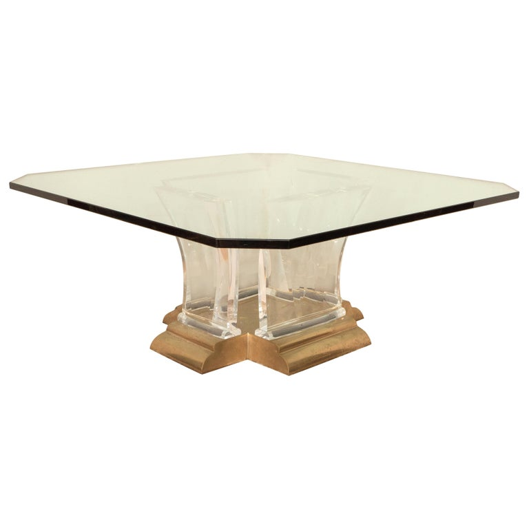 Blue Lucite And Murano Glass Table Nickel-Plated Brass