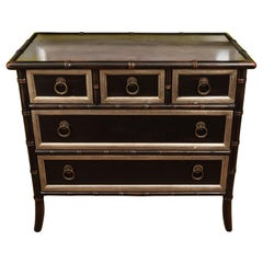 Small Black and Silver Faux Bamboo Chest