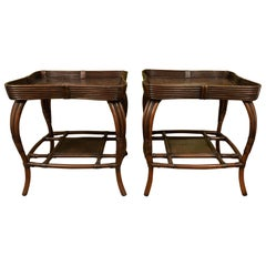 Pair of Rattan Tables