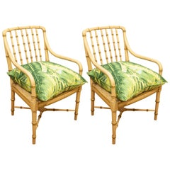 Pair of Green Bamboo Chairs