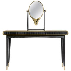 Oak, Brass and Corian 'Oriette' Vanity Dressing Table Console by Felice James