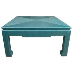 Custom Turquoise Grasscloth-Wrapped Cocktail Table
