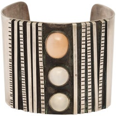 Sterling Silver Cuff with Moonstone Cabochon Decorations
