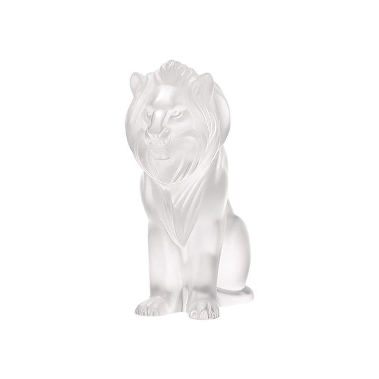 For Sale: Clear Bamara Lion Sculpture in Crystal Glass by Lalique