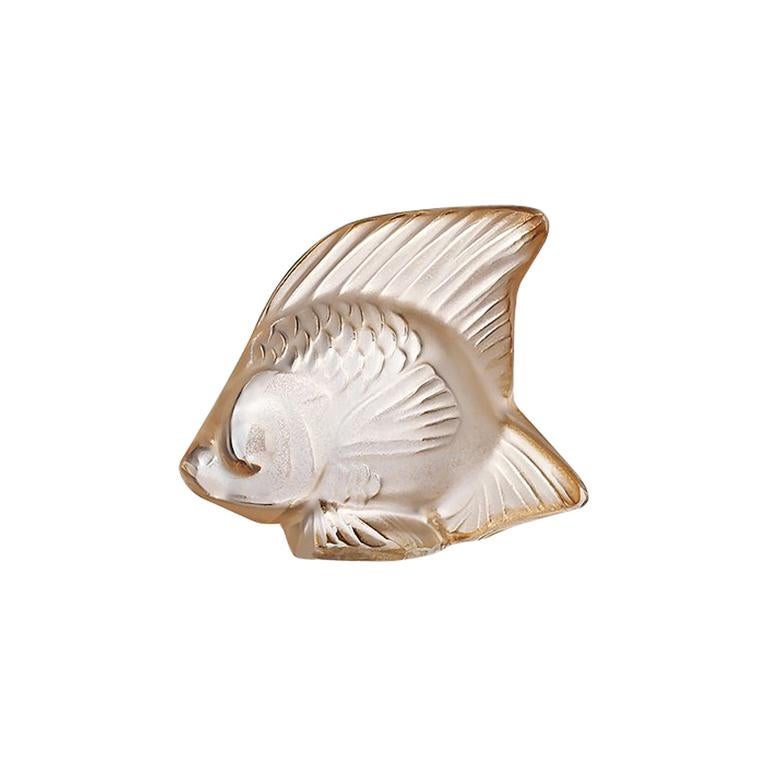 For Sale: Gold (Gold Luster) Fish Sculpture in Crystal Glass Luster by Lalique 2