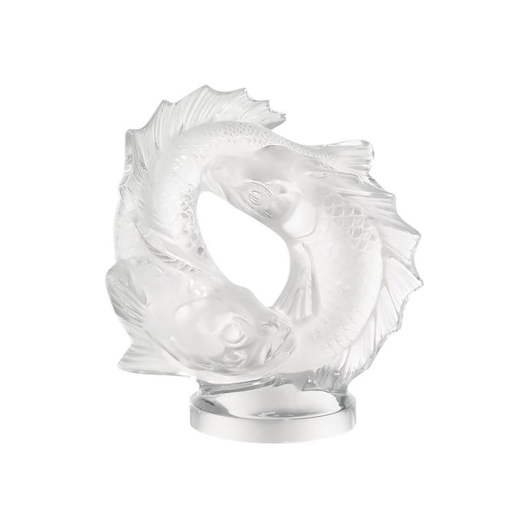 For Sale: Clear Medium Double Fish Sculpture in Crystal Glass by Lalique 2