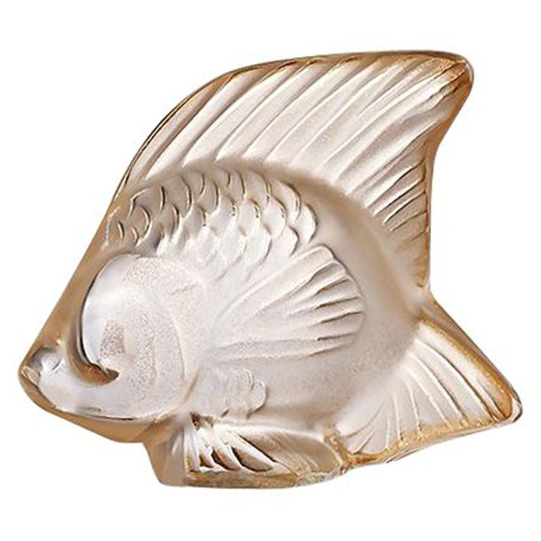 For Sale: Gold (Gold Luster) Fish Sculpture in Crystal Glass Luster by Lalique