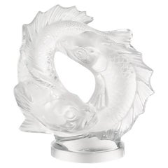 Medium Double Fish Sculpture in Crystal Glass by Lalique