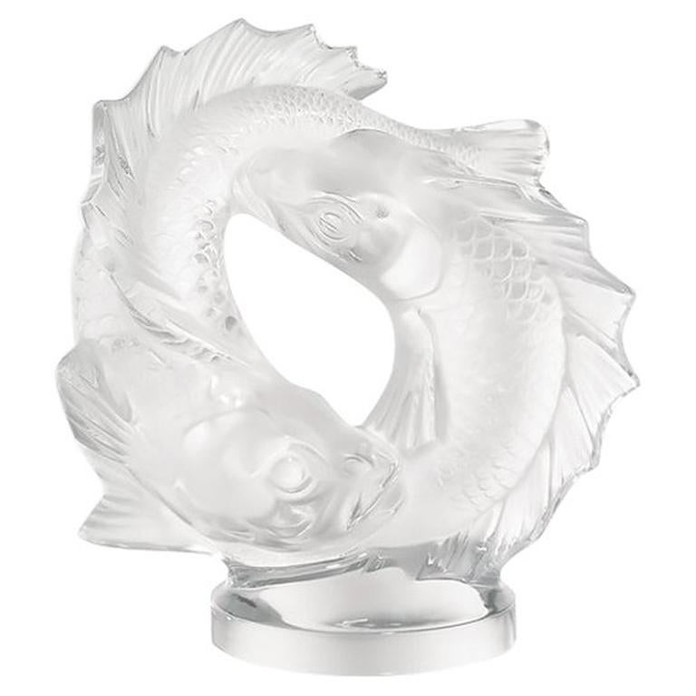 For Sale: Clear Medium Double Fish Sculpture in Crystal Glass by Lalique