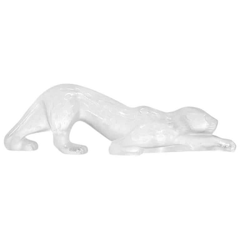 For Sale: Clear Small Zeila Panther Sculpture in Crystal Glass by Lalique
