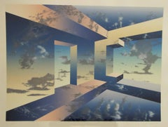 Room For Montgomery, abstract limited edition lithograph sky blue clouds