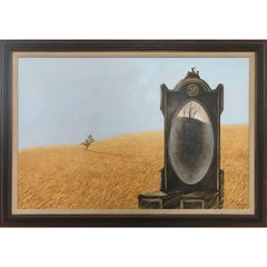 Surreal Painting of A Mirror in Field