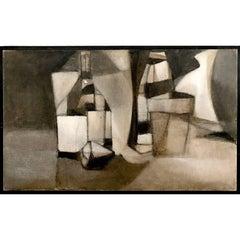 """Still Life Gray"" Cubist Oil Painting"